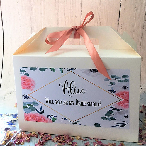 Personalised Wedding Boxes Brides, Bridesmaids, Maids of Honour Rose Peony