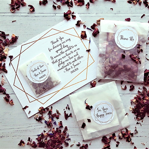 5 for £5 Biodegradable Confetti Bag,Wildflower Seed Favour, Happy Tear