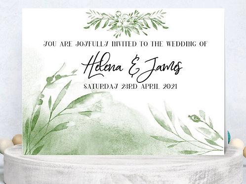 Wedding Invitation Delicate Botanical Design A5 or A6