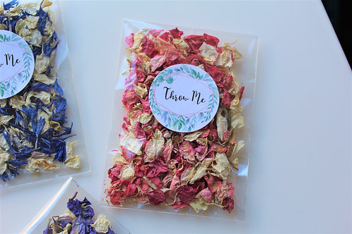 Biodegradable Confetti Clear Cello Bag Pink Ivory Blush Delphinium ix