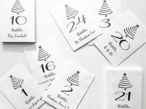 Personalised Advent Calendar - 24 Envelopes with 24 Different Christmas Sayings