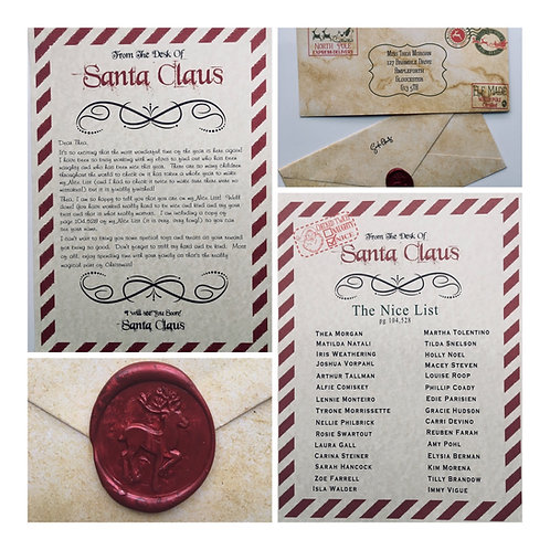 Personalised Letter from Santa and Nice List in Vintage Style Design