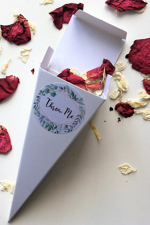 Biodegradable Confetti Cones Raspberry Velvet Rose Petals