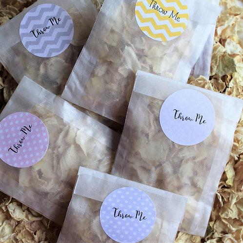 Biodegradable Confetti Clear Cello Bag Perfectly Pale Ivory Delphinium Mix
