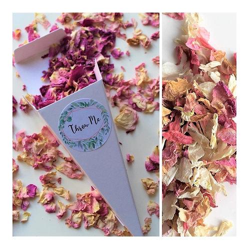 Confetti Cone & Biodegradable Confetti Petals & Throw Me Sticker 15 petal mixes