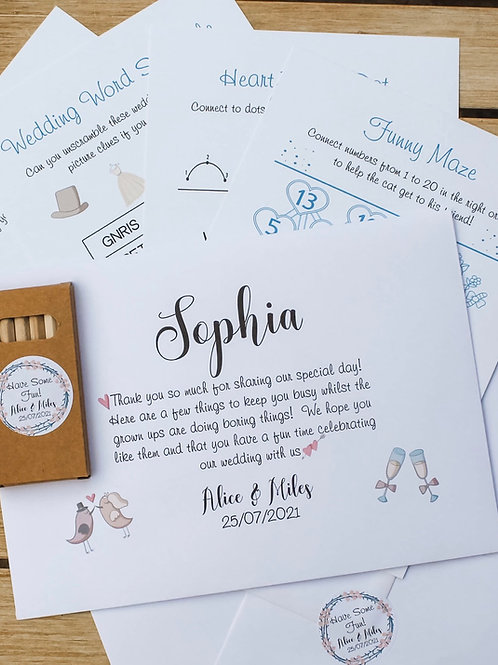 Personalised Wedding Activity Pack with 5 activity sheets plus colouring