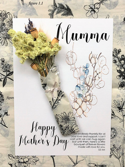 Personalised Card with Mini Dried Flower Bouquet