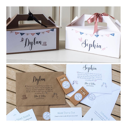 Personalised Wedding Activity Box with 5 activity sheets plus colouring pencils