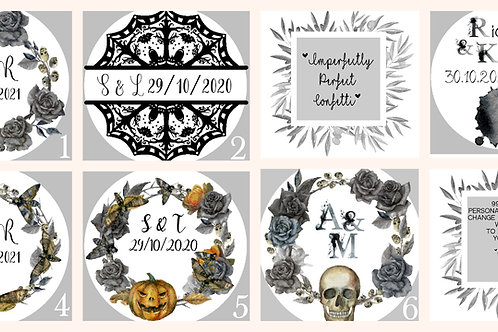 Personalised Stickers Goth Noir Punk Emo Weddings Birthdays Celebratio