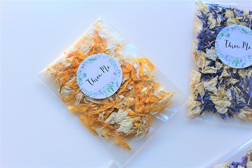Biodegradable Confetti Clear Cello Bag Ivory Sun Delphinium and Wildflower Mix
