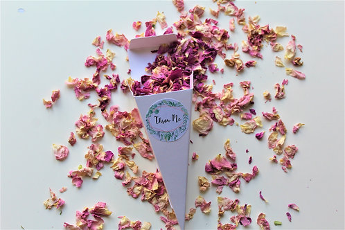 Biodegradable Confetti Cones Pink Ivory Lace Rose Petals