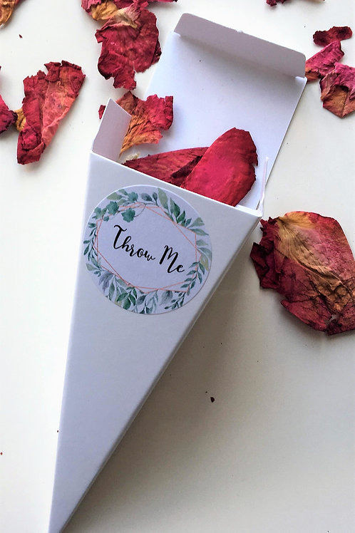Biodegradable Confetti Cones Raspberry Velvet Rose Petals