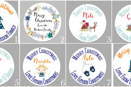 Personalised Stickers Christmas Theme