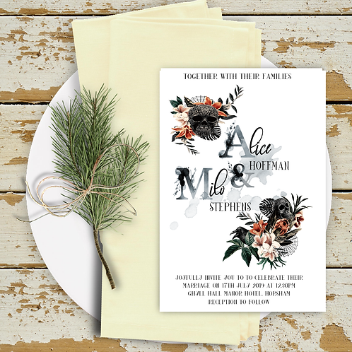 Wedding Invitation A5 Double Sided Postcard Floral SkullsDesign