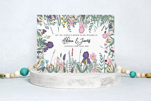 Wedding Invitation A5 Double Sided Postcard Wildflower Design