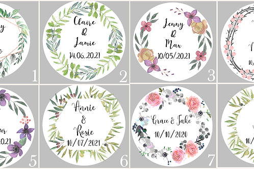 Personalised Stickers Botanical and Floral Weddings Birthdays Celebrations