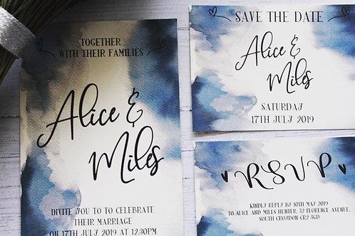 Wedding Invitation Inky Blue Watercolour Design A5 or A6