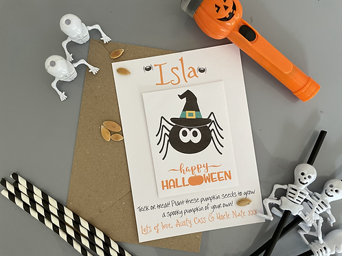 Personalised Halloween Pumpkin Seed Card Party Favour