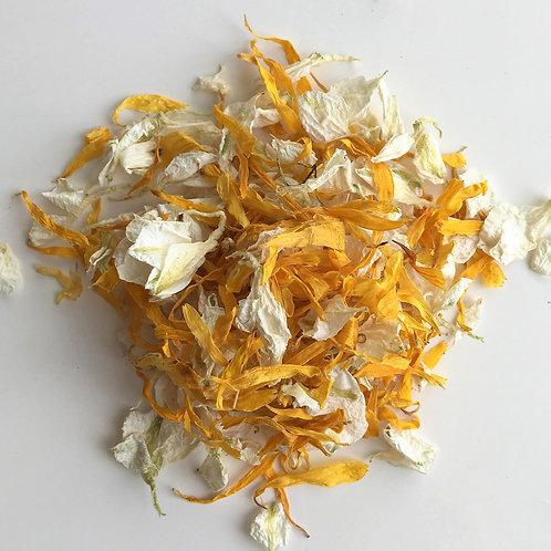 Ivory Sun Delphinium and Wildflower Petal Confetti - 1 Litre