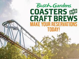 Busch Gardens Williamsburg anuncia evento Coasters and Craft Brews
