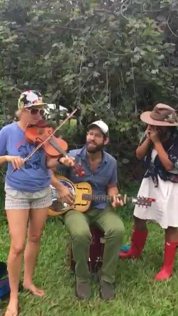 "Our version of ""Walkin down the line"" by Bob Dylan featuring Caroline Pond on the fiddle!              🌳🌴🌿 🎻🌿🌴🌳"