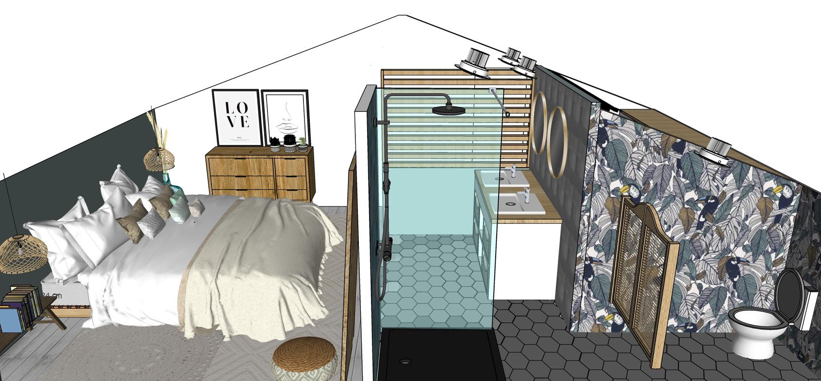 projet chambre sous les combles à MURETs  : plan 3D