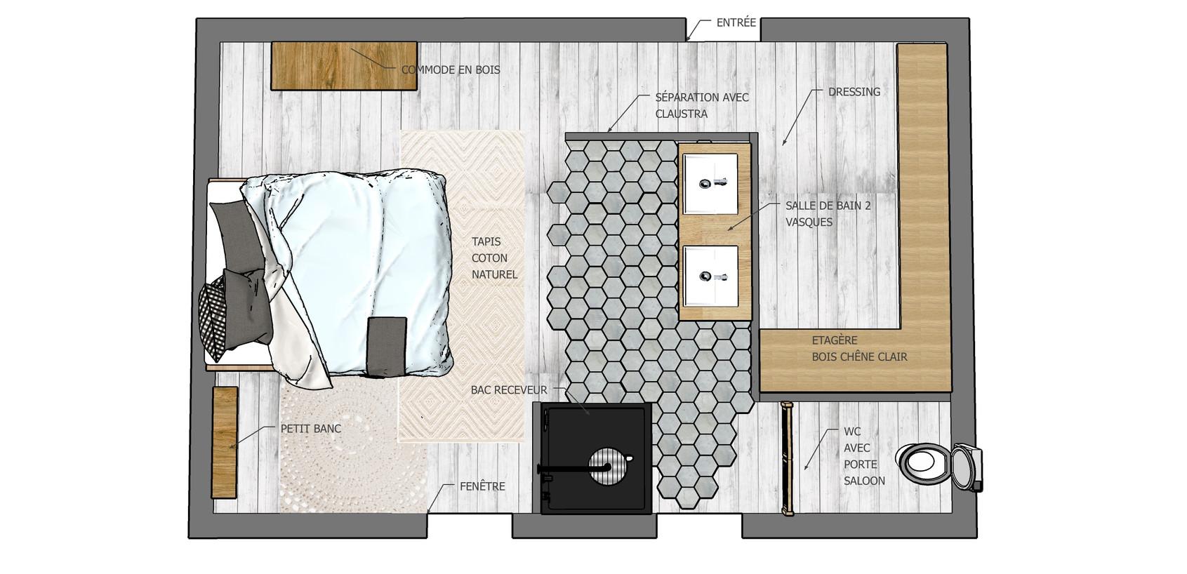 projet chambre sous les combles  : plan 2D À MURET