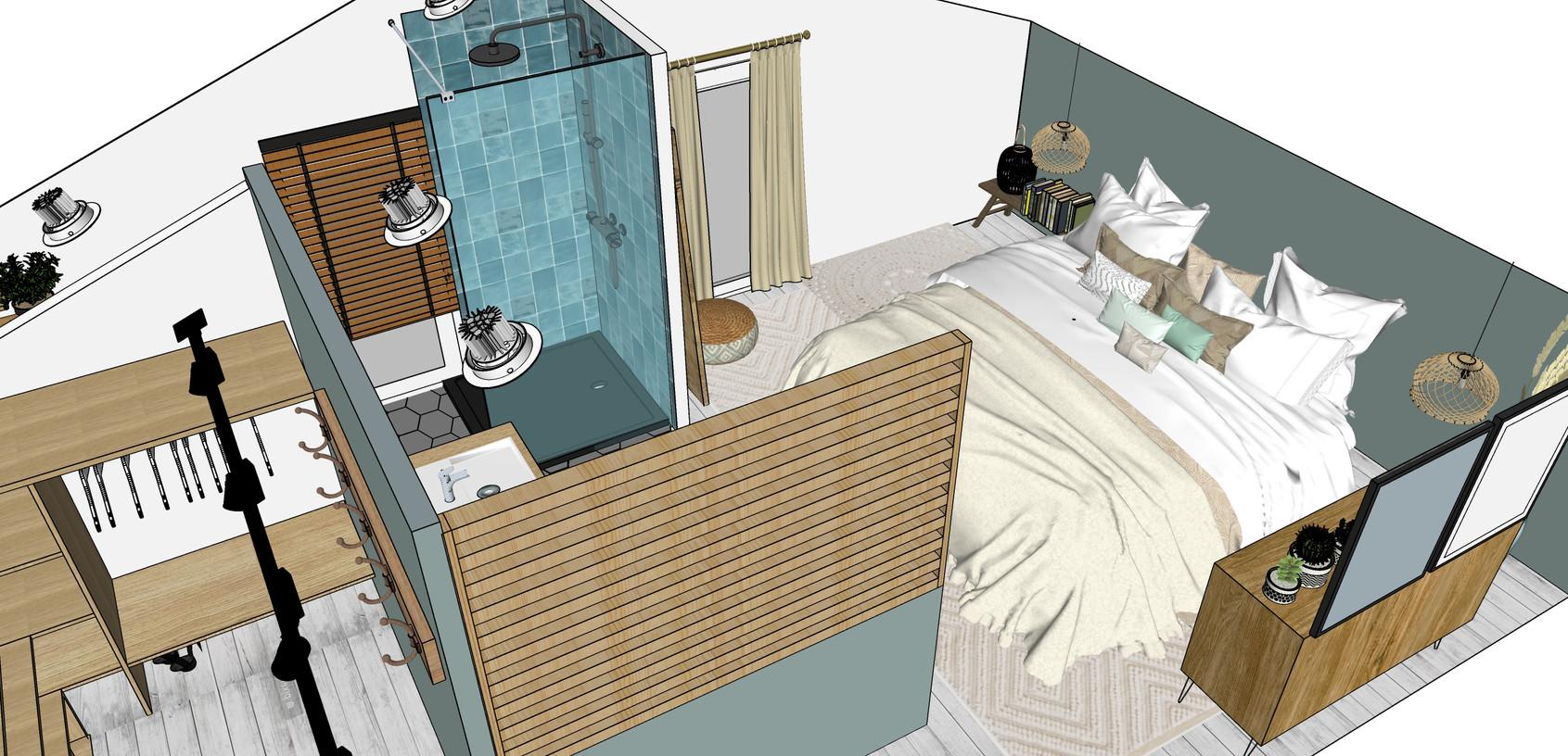 projet chambre sous les combles  à MURET: plan 3D
