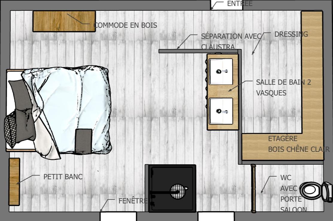 Restructuration d l'espace pour cette chambre sous les combles