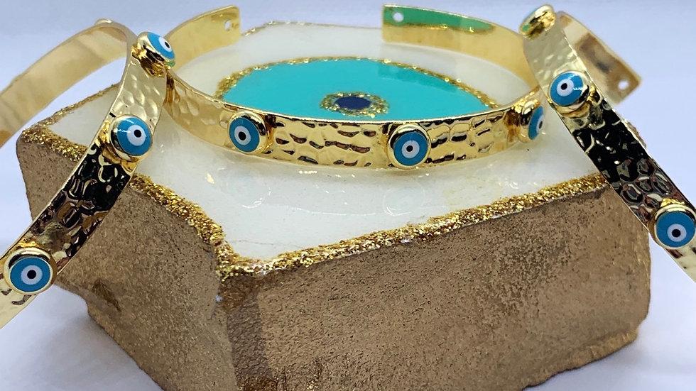 Gold & Blue Evil Eye Cuff