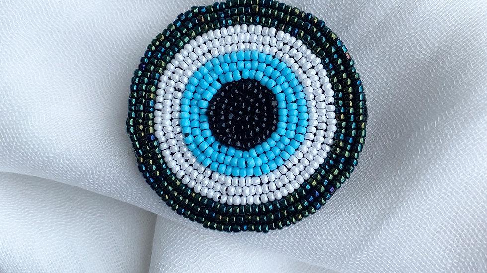 Beaded Evil Eye Pin & Scarf
