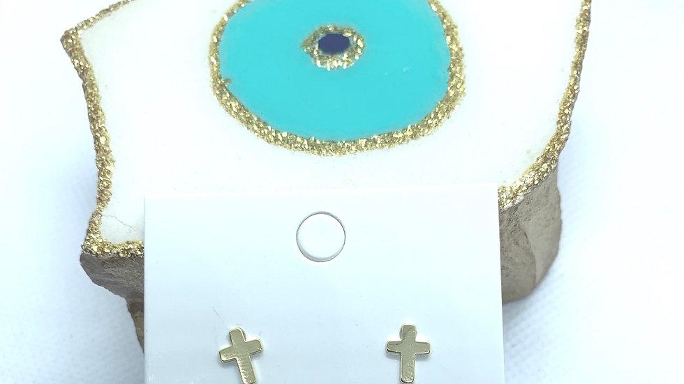 14k Dipped Gold Cross Earrings