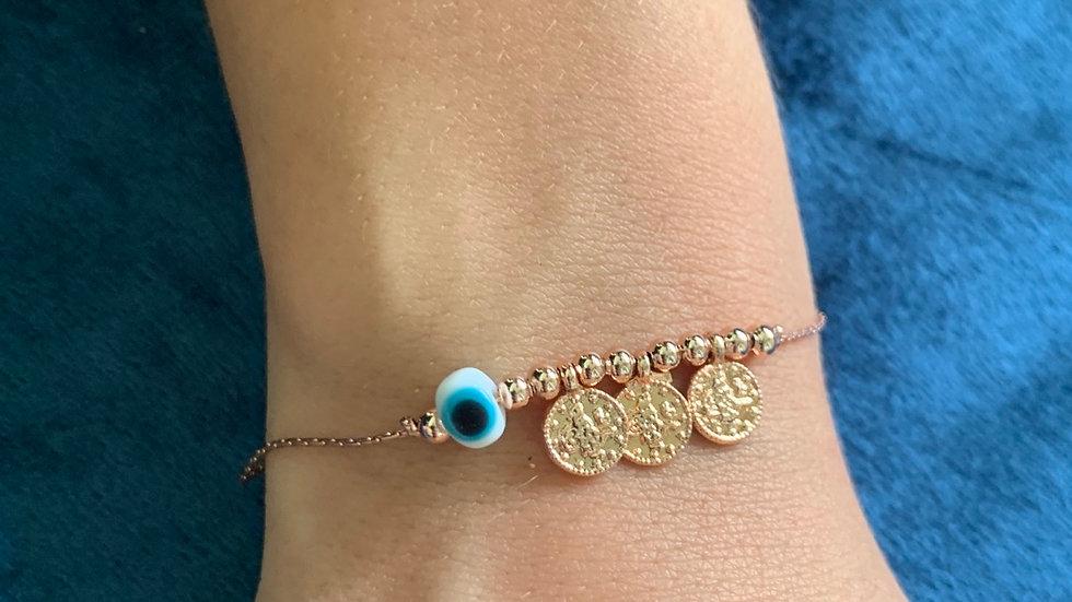 White Eye Coin Anklet/Bracelet