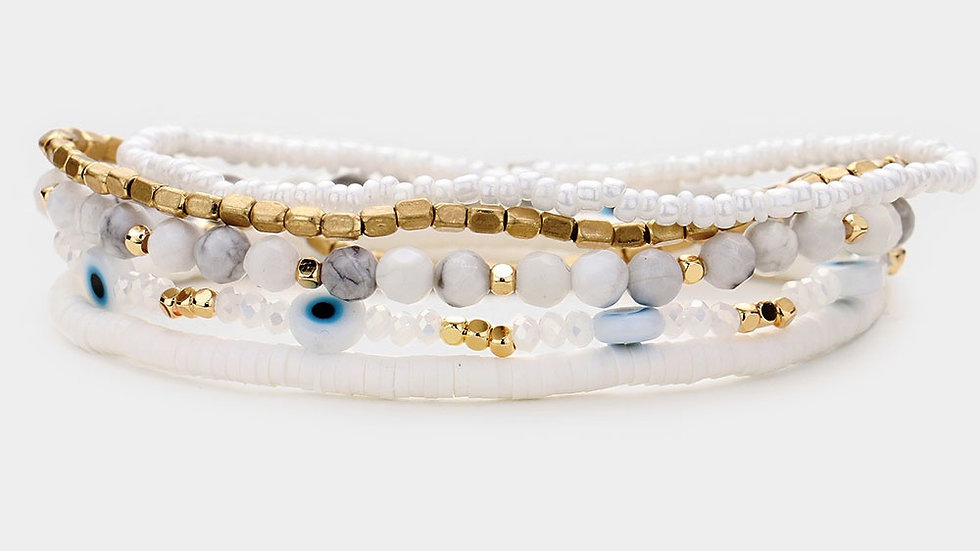 White Evil Eye Stack