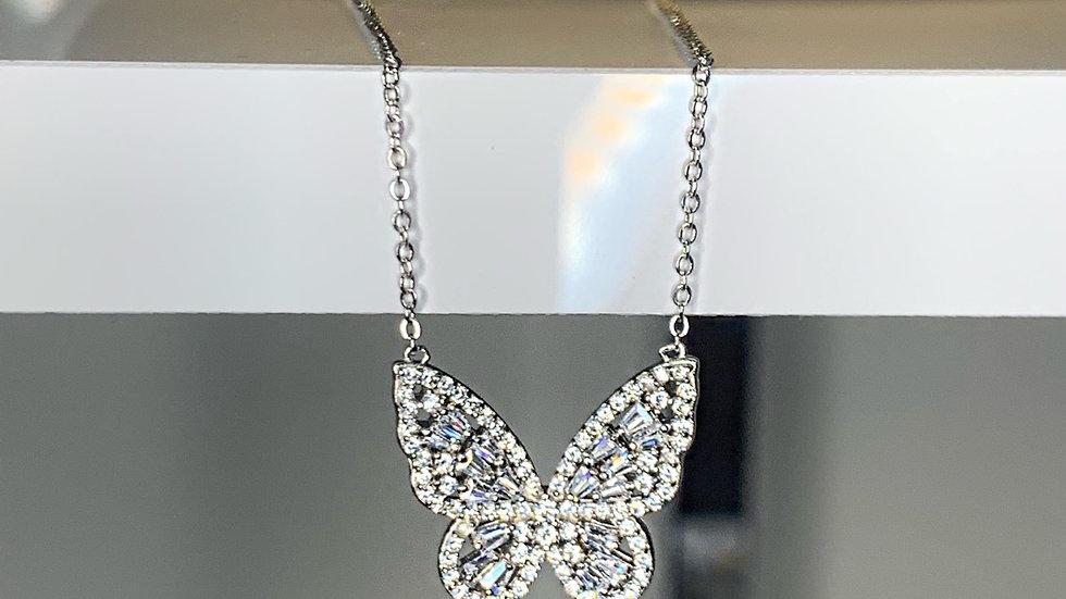 """""""Petalouda"""" CZ Butterfly Necklace"""