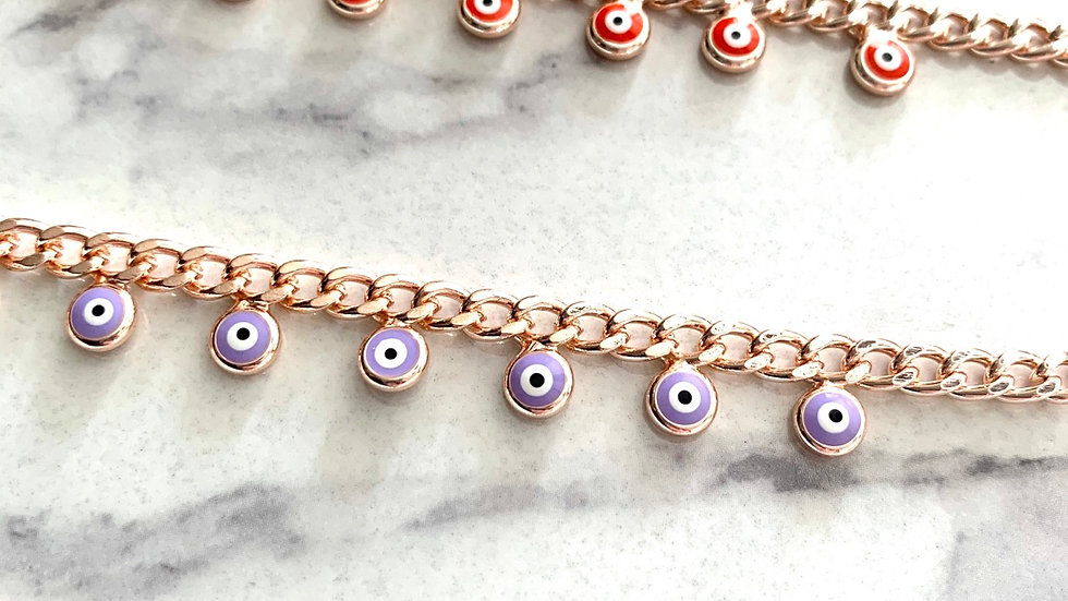 Rose Gold Multi Evil Eye Bracelet