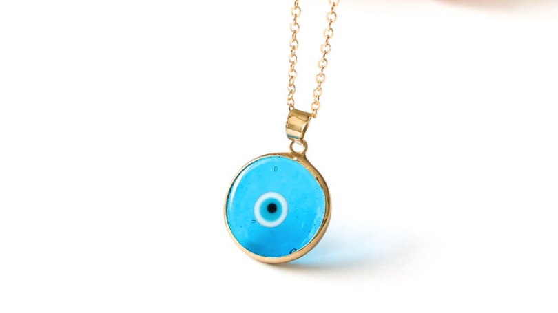 Turquoise Murano Glass Evil Eye Necklace