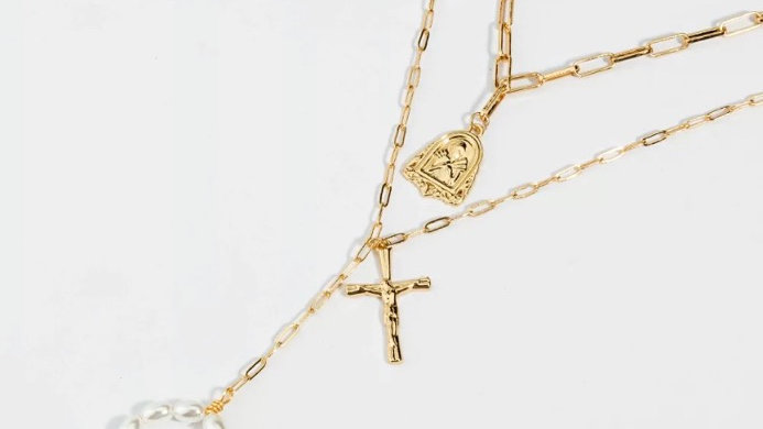 Triple Layer Cross Pearl Necklace