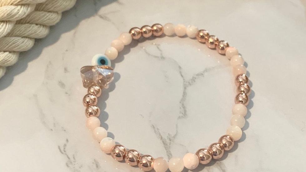 Rose Gold Butterfly & Evil Eye Bracelet