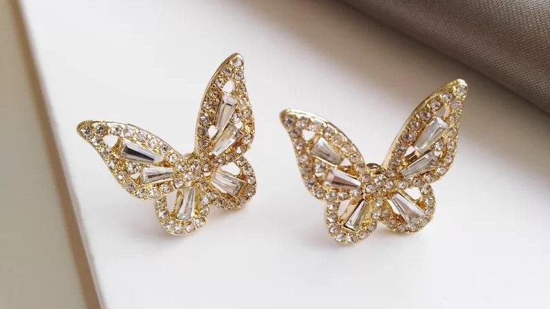 Gold Butterfly Stud Earrings