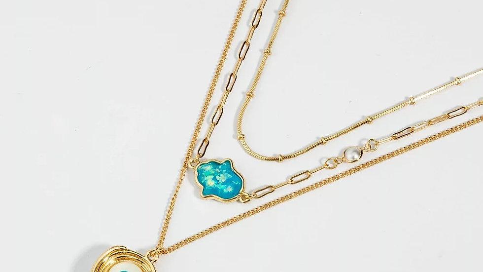 Evil Eye & Hamsa Layered Necklace
