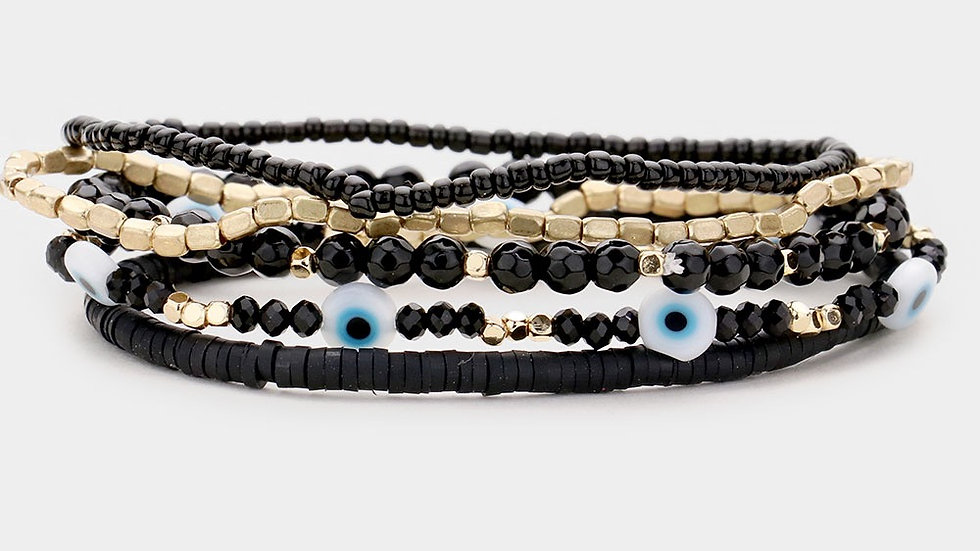 Evil Eye Stack- black