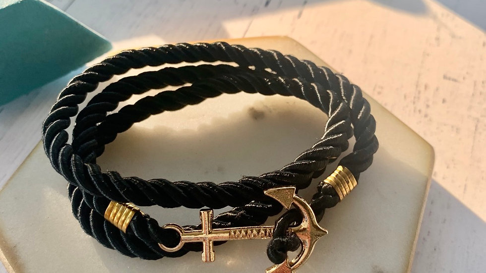 Nautical Rope Anchor Bracelet- Black and gold