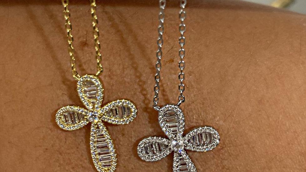 Baguette CZ Cross Necklace