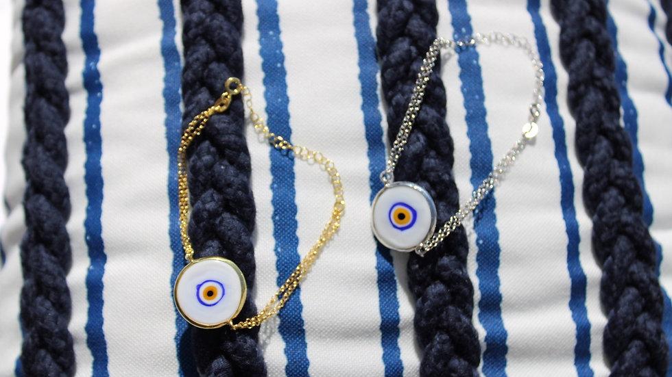 White Murano Evil Eye Bracelet