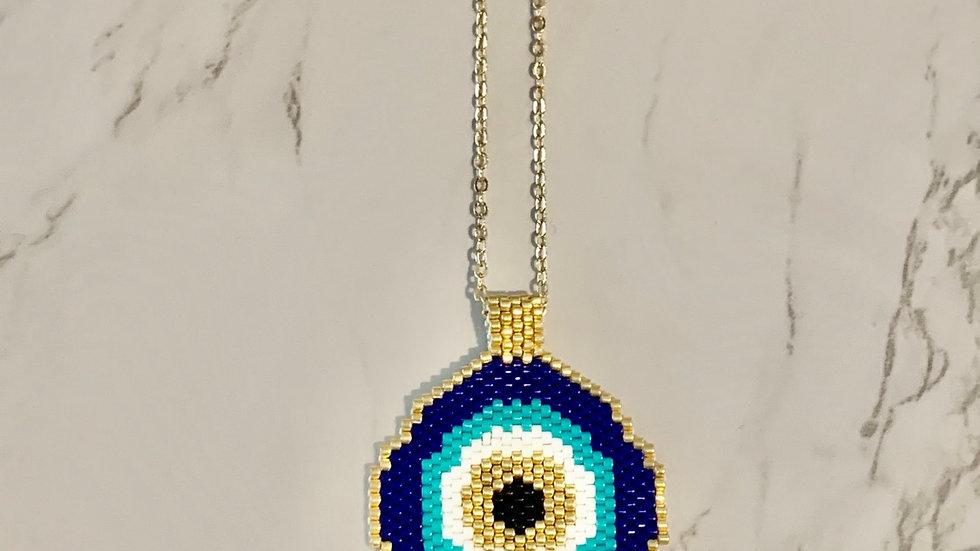 """Xios"" Evil Eye Beaded Necklace"