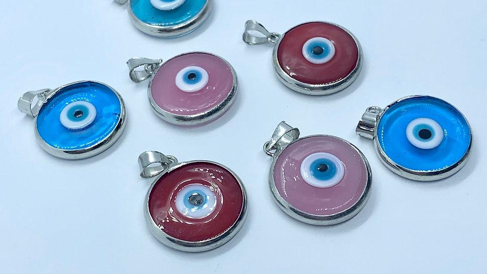 Murano Glass Evil Eye Pendant - Silver Series