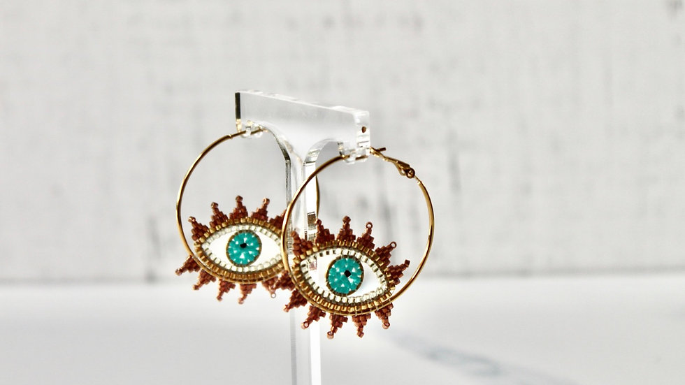 """Thea"" Evil Eye Earrings"