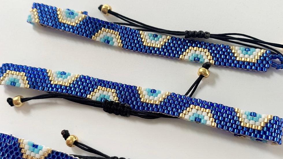 """""""Antiparos"""" Blue Evil Eye Beaded Bracelet"""