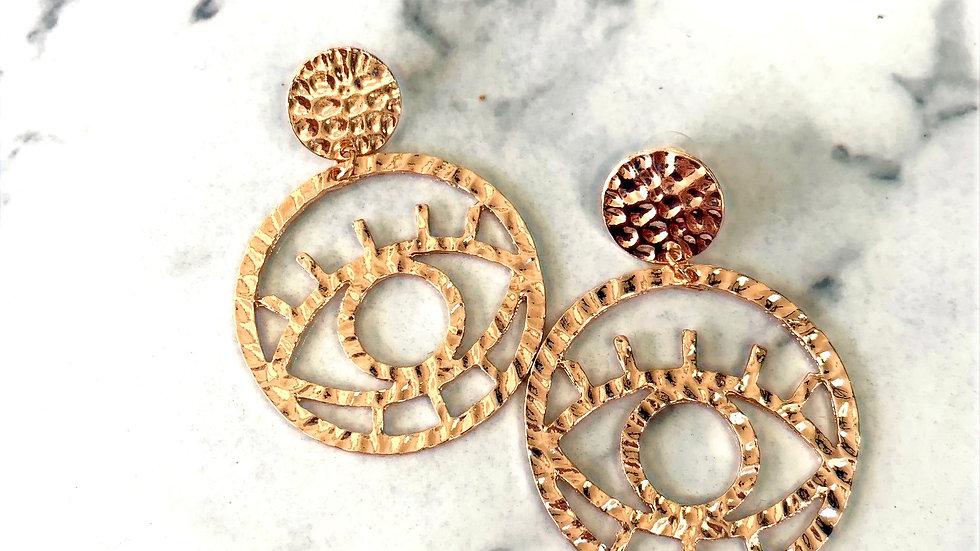 Gold Evil Eye Hammered Earrings